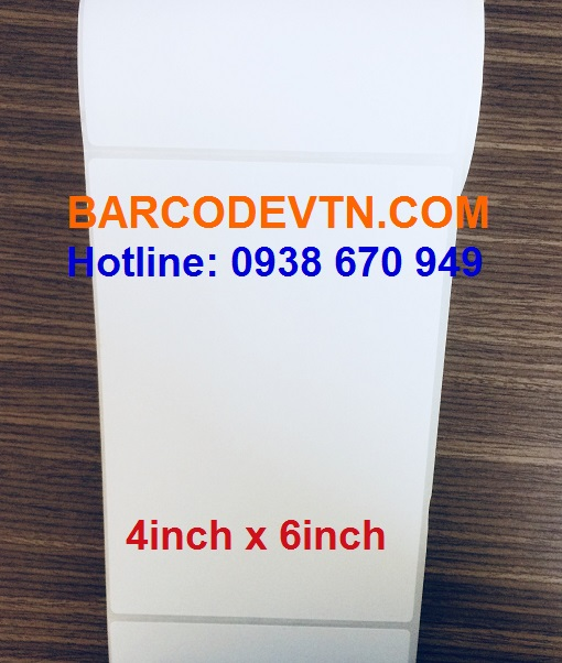 Giấy decal in mã vạch 4in x 6in