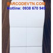 Giấy decal PVC in mã vạch 2 tem 50×60 dạng cuộn
