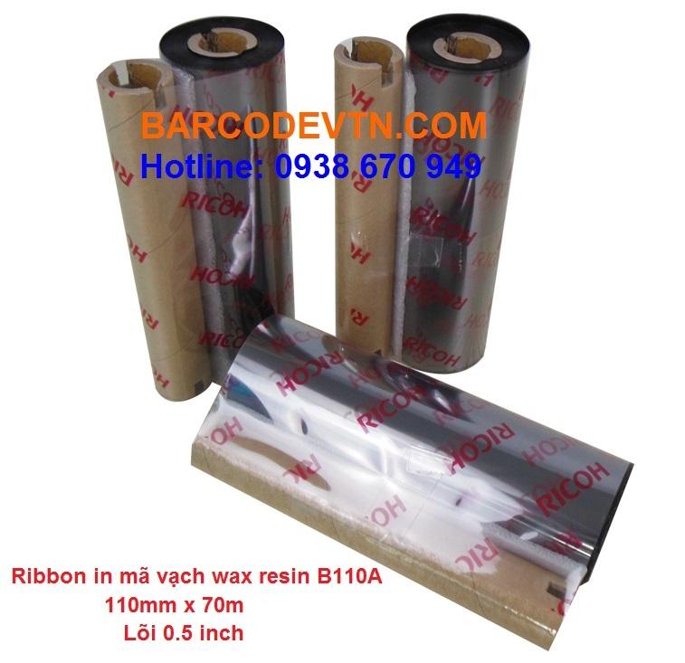 Mực in mã vạch ribbon wax/resin B110A 110x70