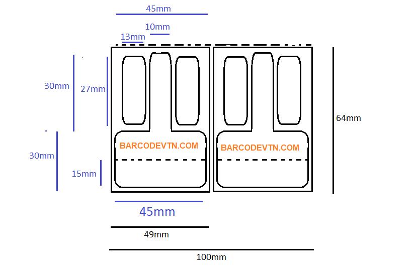 Giấy in mã vạch tem mắt kính 64x49